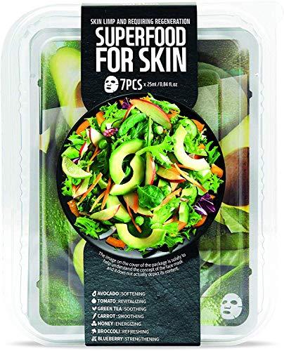 Superfood - Gesichtsmasken Beauty Set für jeden Tag der Woche, Hydratisierende Sheet Masken, Koreanische Kosmetik, optimale Gesichtspflege (1 x 7stk.)