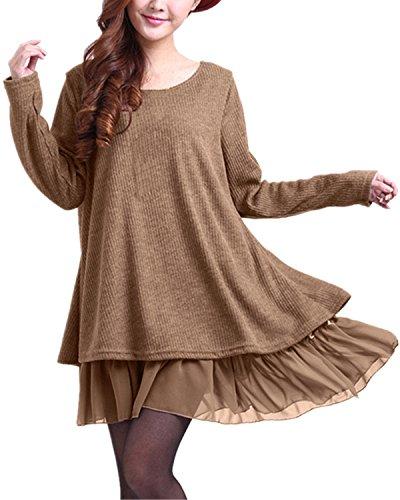 ZANZEA Pullover Damen Langarm Stricken Pulloverkleid Strickkleid Rundhals Longpullover Stricken Kleid Kurz Lässig Khaki-399848 EU 40