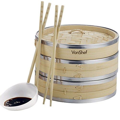 VonShef Premium-Bambusdampfer mit Edelstahlstreifenbildung- 20cm inkl. 2 Etagen - 2 Essstäbchenpaare & 50 Stueck gratis Wachspapier inklusive