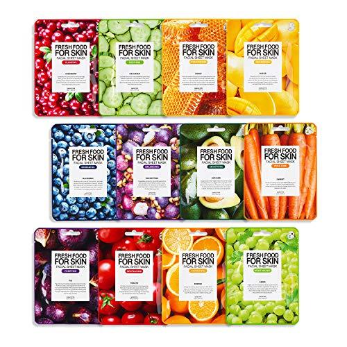 Farmskin Freshfood For Skin Gesichtspflegeset Tuchmaske 12er Set, Sparpack, für alle Hauttypen