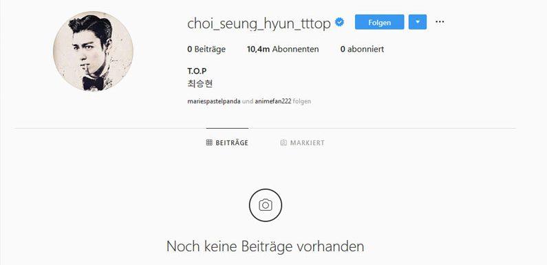 T.O.P hat kurzzeitig etwas gepostet & es wieder gelöscht